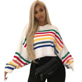 Bat Sleeve Rainbow Striped Knit Sweater