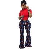 Multicolor Plaid Sling Trousers