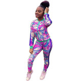 Casual Floral Print Skyblue Two-piece Pants Set