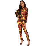 Fashion Multicolor Camouflage Print Pant Set