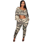 Sexy Camouflage Crop Top And Pants