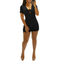 Lace Short Backless Tight Romper