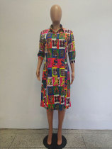 Print Split 3/4 Sleeve Shirt Dress
