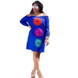 Solid Color Off Shoulder Print Dress