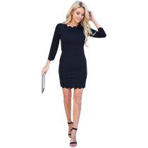 First Date Scalloped Dress - Black