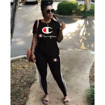 Women's Sport Tracksuit 2pcs Jogging Short Sleeve Yoga Pant Set