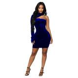 Solid Sexy One Sleeve Bodycon Mini Dress