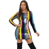 Rainbow Sequins Mini Dress