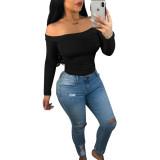 Off the Shoulder Long Sleeve Solid Color T Shirt