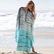 2019 Print Chiffon Beach Cover Up Tunics Kaftan Sarong