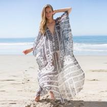 2019 Print Chiffon Beach Cover Up Tunics Kaftan Sarong