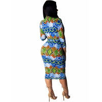 Striped Irregular Zipper Print Dress with Belt