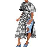 Asymmetrical Grids Printed Cotton Split Dress