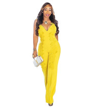 Patchwork Lace Bow Cascading Ruffle Bodycon Palazzo Jumpsuit