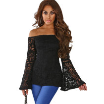 Candy Queen Black Crochet Flare Sleeve Bardot Top