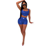 PU Leather Vest Top And Shorts