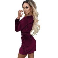 Casual V Neck Velvet Dress
