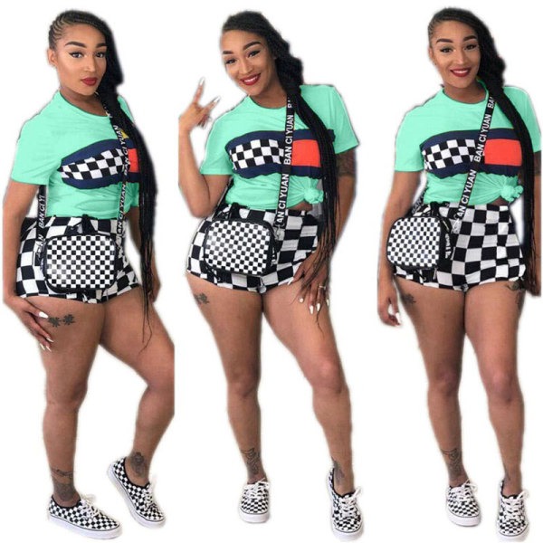 Casual Print Plaid Top T-Shirt And Shorts