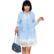 Lapel Lace Stitching Plus Size A Line Dress