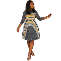 African Wavelet Dot Irregular Printed Dress