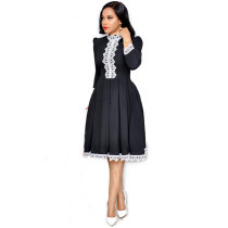 African Lace Stitching Pleated Dress