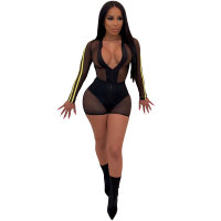 Fashion Stitching Mesh See Through Bodysuits