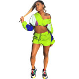 Casual Loose Contrast Stitching Sports Shorts Set