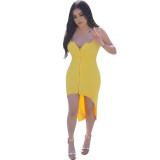 Solid Color Straps Tail Dress
