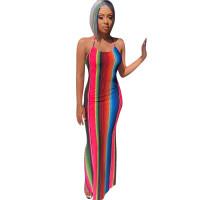 Rainbow Striped Women's Long Dress