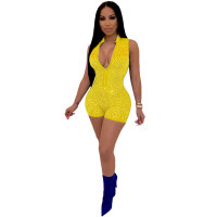 Casual Sleeveless Hot Brick Romper
