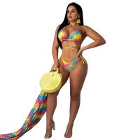 Chiffon Bikini Set with Cloak Three Piece Set