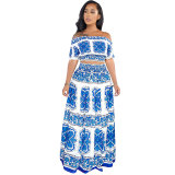 Printed Butterfly Crop Top and Skirt Set