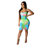 Sexy Tie Dye Fishnet Mini Dress