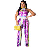 Sleeveless Tie-dye Backless Sexy Jumpsuit