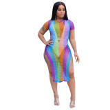 Sexy Hollowed-out Multicolor Beach Dress