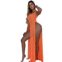 Mesh See Through Slits Sleeveless Beach Maxi Dress