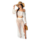 Sexy Hollow-out Tassel Design Two-piece Skirt Set (Cover-up)