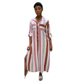 Stripe Print Plus Size Side Slit Casual Shirt Dress