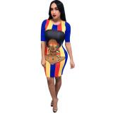Print Cartoon Avatar Rainbow Striped Midi Dress