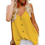 Adjustable Spaghetti Front Button Up Swing Tank Top Sleeveless Shirts