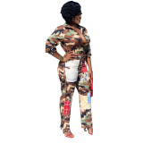Casual Camouflage Printed Jumpsuit