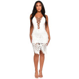 Sexy V Neck Hollow-out White Knee Length Dress