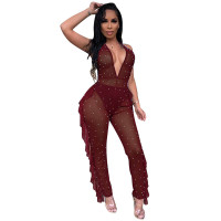 Solid Color See Through Halter Jumpsuit without Underwear
