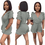 Casual Solid Color Fungus Sleeves Romper