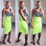 Black and White Plaid Checkered Strapless Dress
