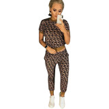 Casual O Neck Printed Two-piece Pants Set