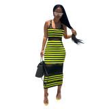 Chic Striped See-through Mid Calf Dress