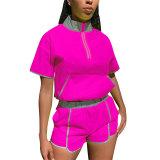 Casual Reflective Stand Collar Shorts Set