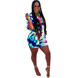 Casual Half Sleeve Printed Two-piece Shorts Set