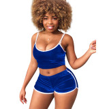 Leisure Patchwork Two-piece Shorts Set